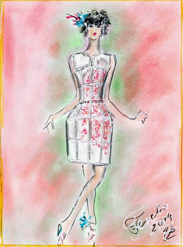 手绘服装设计图皮草
